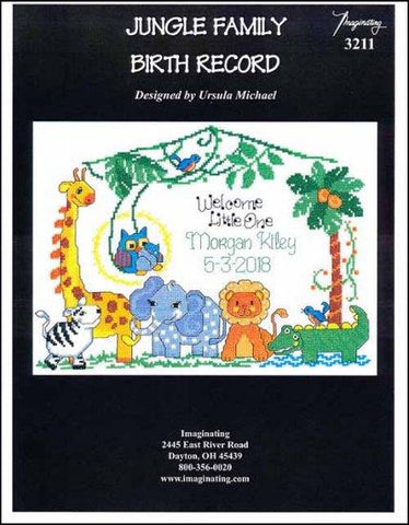 Jungle Family Birth Record by Imaginating Counted Cross Stitch Pattern