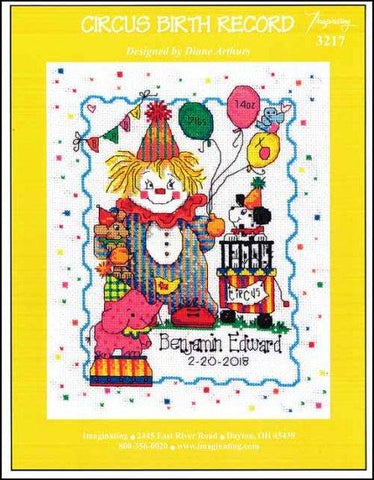 Circus Birth Record by Imaginating Counted Cross Stitch Pattern