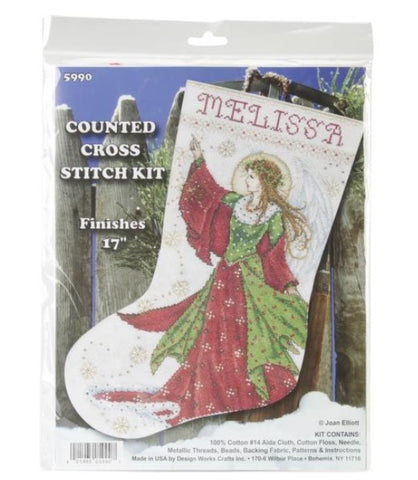 Angel of Joy by Design Works Counted Cross Stitch Stocking Kit