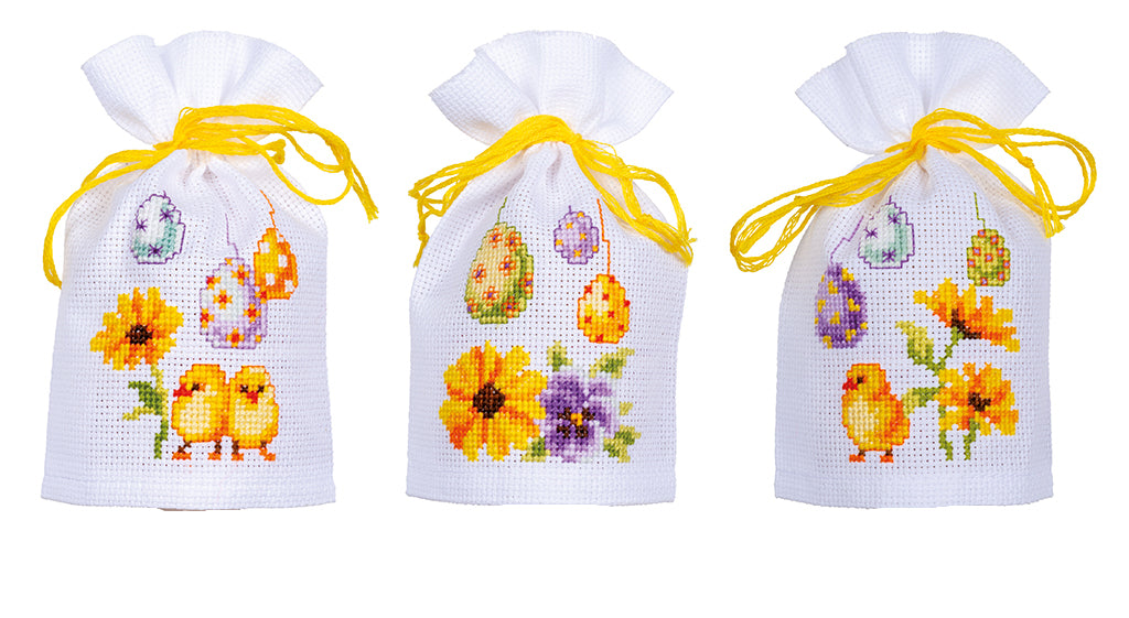EASTER EGGS by Vervaco 3 Sachet Bags Counted Cross Stitch Kit