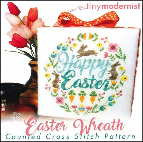 Easter Wreath By The Tiny Modernist Counted Cross Stitch Pattern