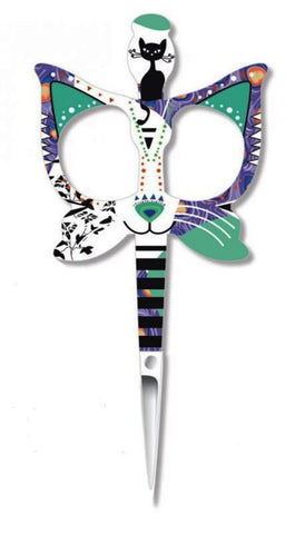 BOHIN FANCY CATS EMBROIDERY SCISSORS-Teal