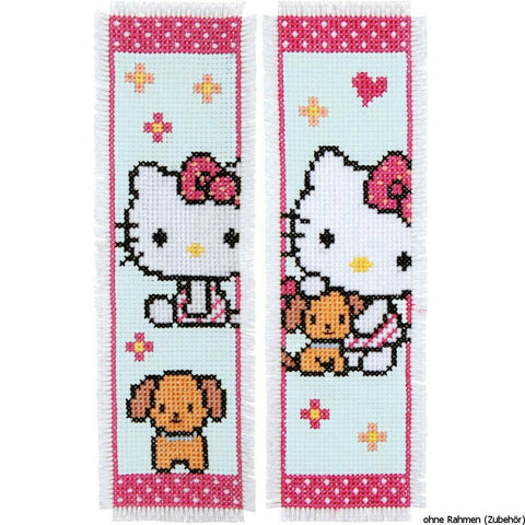 Hello Kitty & Dog Set of 2 Bookmarks by Vervaco Counted Cross Stitch Kit 2.5