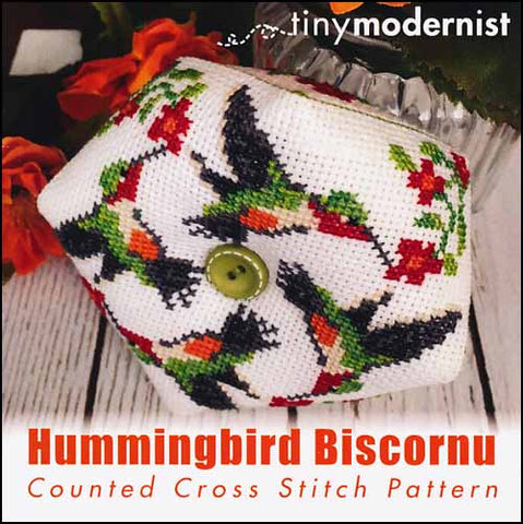 Hummingbird Biscornu By The Tiny Modernist Counted Cross Stitch Pattern