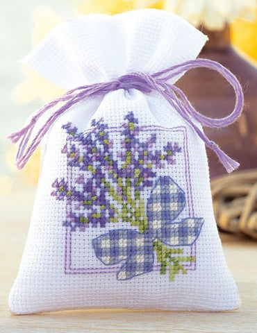 Lavender Bow Sachet by Vervaco 1 Sachet Bag Counted Cross Stitch Kit