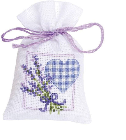 Lavender Heart Sachet by Vervaco 1 Sachet Bag Counted Cross Stitch Kit