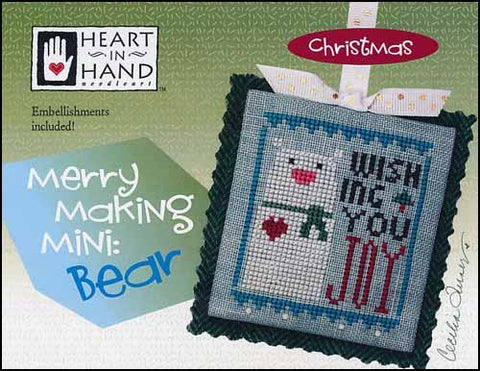 Merry Making Mini: Bear by Heart in Hand Counted Cross Stitch Pattern