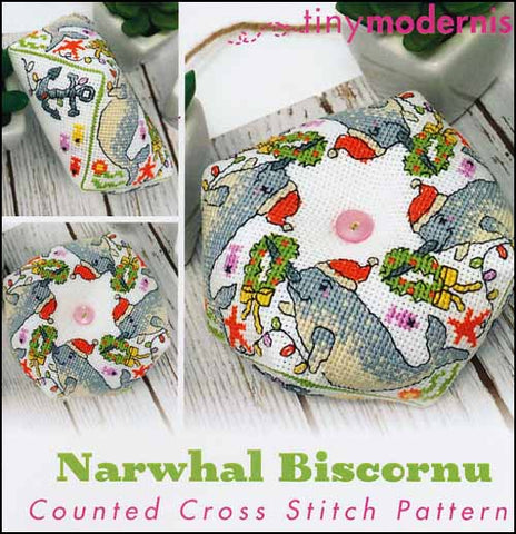 Narwhal Biscornu By The Tiny Modernist Counted Cross Stitch Pattern
