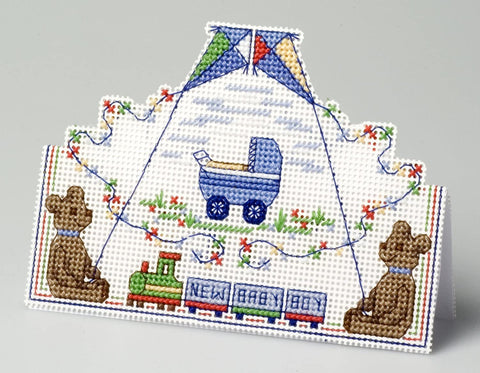 New Baby Boy Greeting Card Counted Cross Stitch Kit
