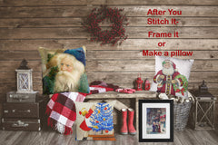 Father Christmas Santa Claus Delivering Tree on Bicycle Counted Cross Stitch Pattern DIGITAL DOWNLOAD
