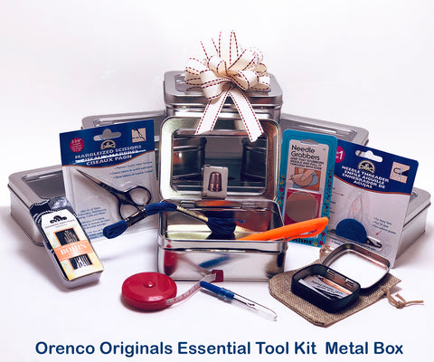 Cross Stitch Essential Tool Kit-12 Items Packaged in a Handy Metal Organizer