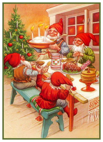 Elves Holiday Meal Jenny Nystrom Christmas Counted Cross Stitch Pattern DIGITAL DOWNLOAD