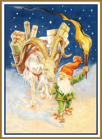 Elf Ram Presents Torch Jenny Nystrom Holiday Christmas Counted Cross Stitch Pattern