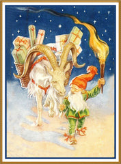 Elf Ram Presents Torch Jenny Nystrom Holiday Christmas Counted Cross Stitch or Counted Needlepoint Pattern