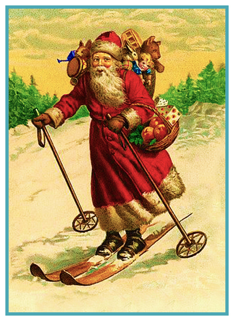Father Christmas Santa Claus 87 Holiday Counted Cross Stitch or Counted Needlepoint Pattern