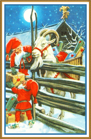 Elves Ram Presents Jenny Nystrom Holiday Christmas Counted Cross Stitch Pattern