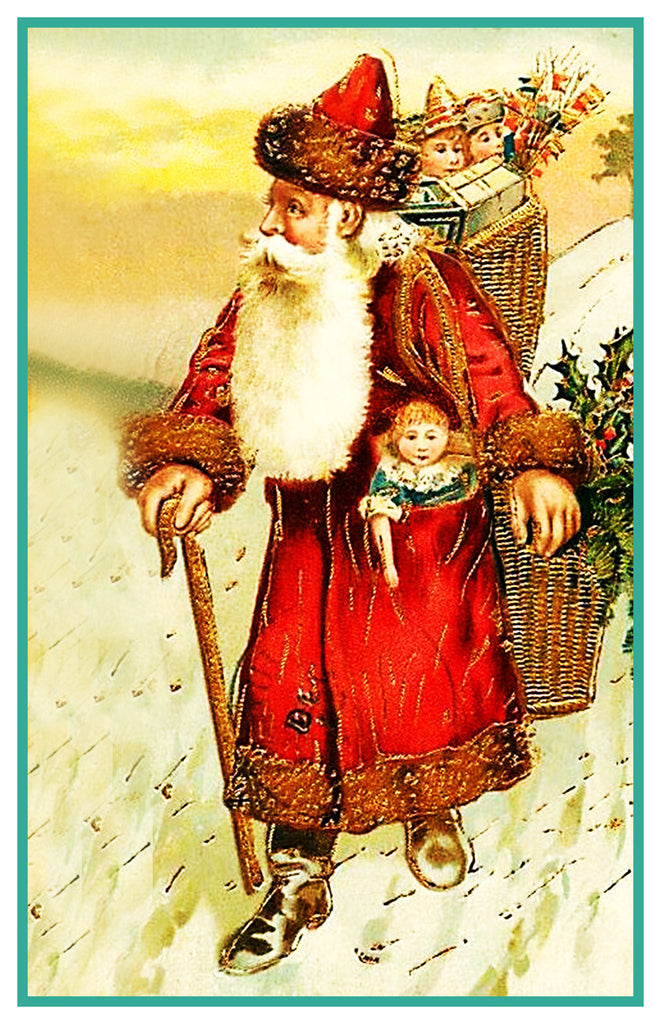 Father Christmas Santa Claus 94 Holiday Counted Cross Stitch or Counted Needlepoint Pattern