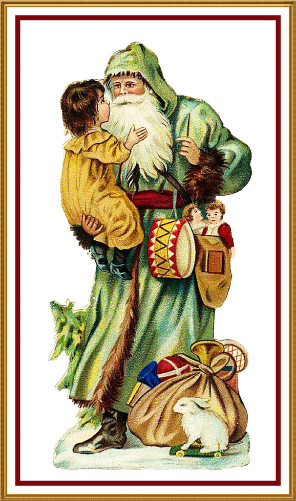 Father Christmas Santa Claus 96 Holiday Counted Cross Stitch or Counted Needlepoint Pattern