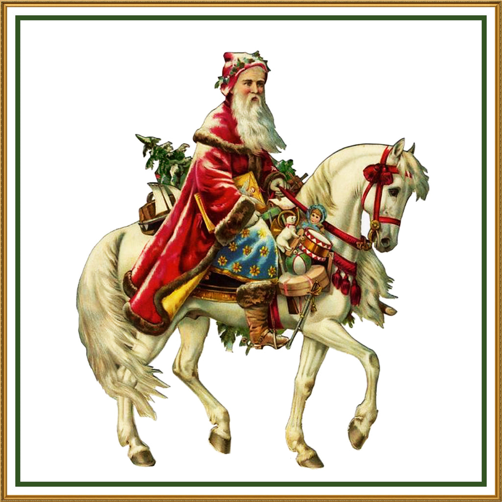 Father Christmas Horseback Santa Claus 98 Holiday Counted Cross Stitch or Counted Needlepoint Pattern