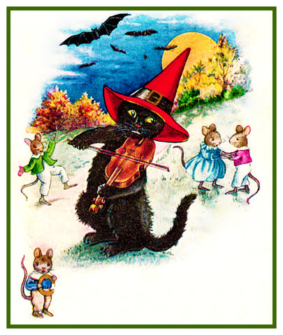 Fiddling Black Cat Halloween Counted Cross Stitch Pattern