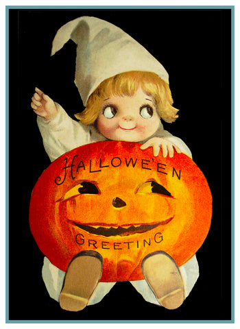 Baby Jack O Lantern Halloween Counted Cross Stitch or Counted Needlepoint Pattern