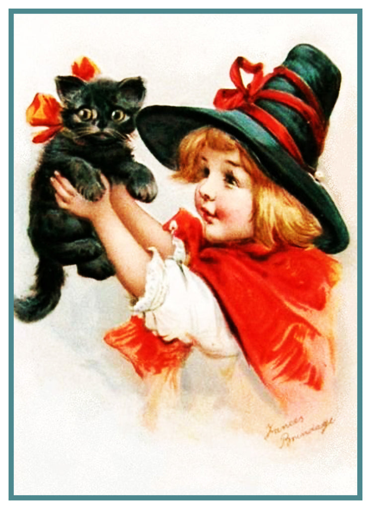 Girl Hat Black Cat Halloween Frances  Brundage Counted Cross Stitch or Counted Needlepoint Pattern