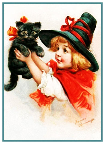 Girl Hat Black Cat Halloween Frances  Brundage Counted Cross Stitch Pattern