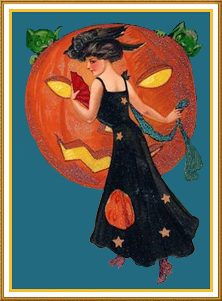 Woman Jack O Lantern Pumpkin Halloween Counted Cross Stitch or Counted Needlepoint Pattern