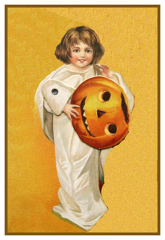 Child Ghost  Pumpkin Halloween Counted Cross Stitch Pattern