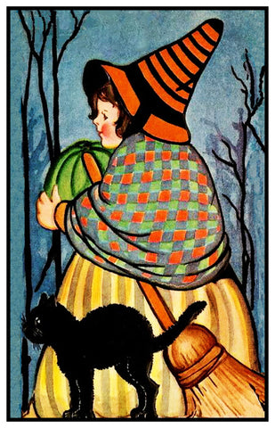 Folk Art Witch Black Cat Halloween Counted Cross Stitch or Counted Needlepoint Pattern