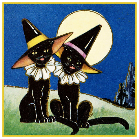2 Black Cats with Witch Hats Halloween Counted Cross Stitch Pattern Digital Download