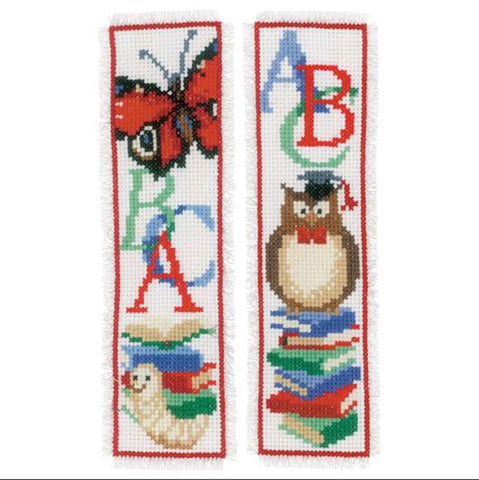 Owl & Worm Set of 2 Bookmarks by Vervaco Counted Cross Stitch Kit 2.5