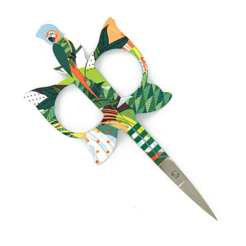 JUNGLE BIRDS-PARROT EMBROIDERY SCISSORS-Teal