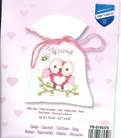 Pink Owl Sachet by Vervaco 1 Sachet Bag Counted Cross Stitch Kit