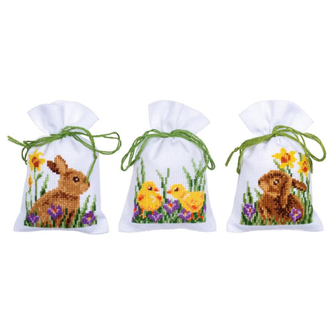 Rabbit and Chicks by Vervaco 3 Sachet Bags Counted Cross Stitch Kit