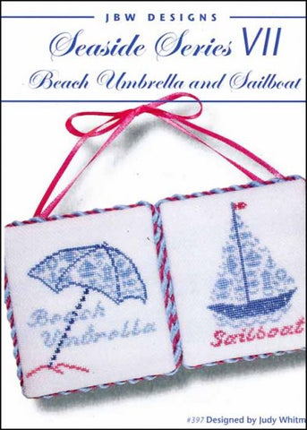 Seaside Series 7: Beach Umbrella & Sailboat by JBW Designs Counted Cross Stitch Pattern