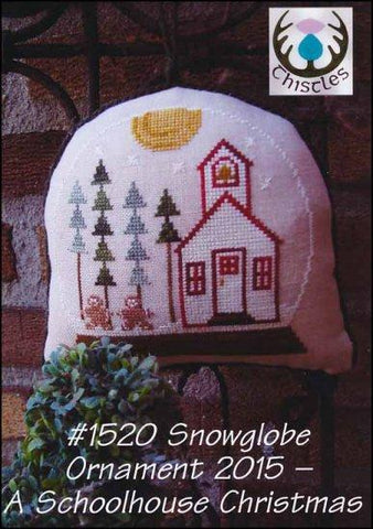 Snowglobe Ornament 2015: A Schoolhouse Christmas by Thistles Counted Cross Stitch Pattern