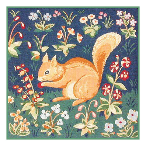 Squirrel Detail from the Lady and The Unicorn Tapestries Counted Cross Stitch or Counted Needlepoint Pattern