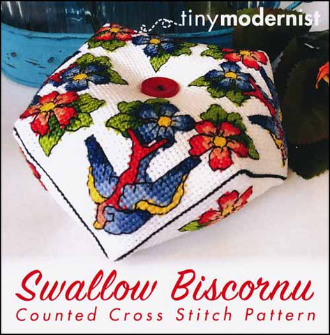Swallow Biscornu By The Tiny Modernist Counted Cross Stitch Pattern