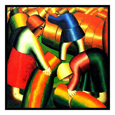Workers Taking in the Crops  Geometric by Artist Kazimir Malevich Counted Cross Stitch or Counted Needlepoint Pattern