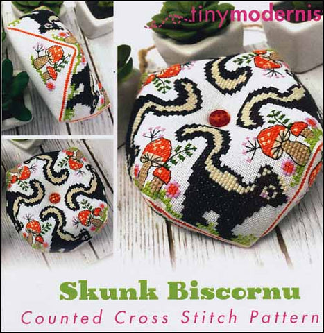 Skunk Biscornu By The Tiny Modernist Counted Cross Stitch Pattern