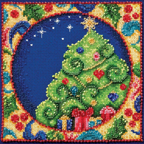 CHRISTMAS TREE Beaded  by Jim Shore Counted Cross Stitch Kit -Mill Hill