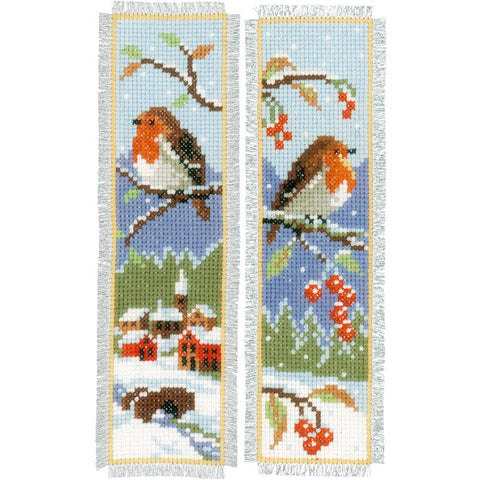 Pair of Robins Vervaco Bookmark Counted Cross Stitch Kit 2.5