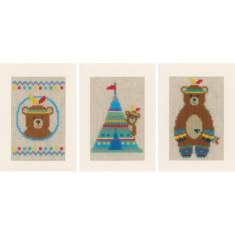 Indian Bear Greeting Cards  by Vervaco Counted Cross Stitch Kit 4.2