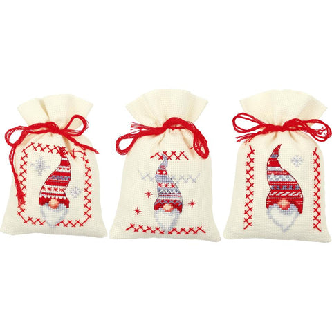 Christmas Gnomes by Vervaco 3 Sachet Bags Counted Cross Stitch Kit