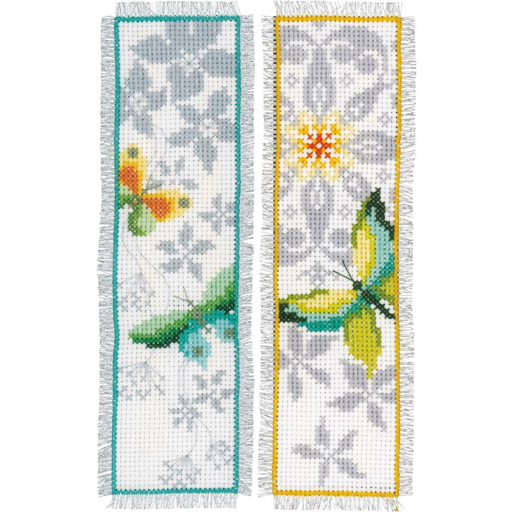"Butterfly Vervaco Bookmark Counted Cross Stitch Kit 2.5""X8"" 2/Pkg"