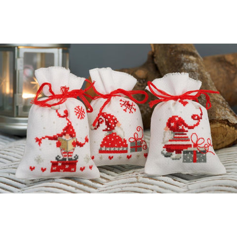 Christmas Elves Gnomes by Vervaco 3 Sachet Bags Counted Cross Stitch Kit