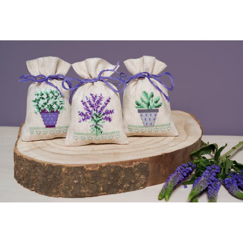 Provence Lavender by Vervaco 3 Sachet Bags Counted Cross Stitch Kit