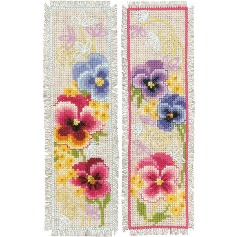Violet Pansy Flowers Vervaco Bookmark Counted Cross Stitch Kit 2.5
