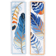 "Blue Feathers Vervaco Bookmark Counted Cross Stitch Kit 2.5""X8"" 2/Pkg"